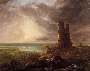 Thomas Cole, a student of the Hudson River School, was a 19th century Romanticist painter who portrayed the beauty of wild nature