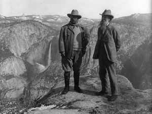 Theodore Roosevelt (left) and John Muir (right) were proponents of conserving natural spaces for the American people